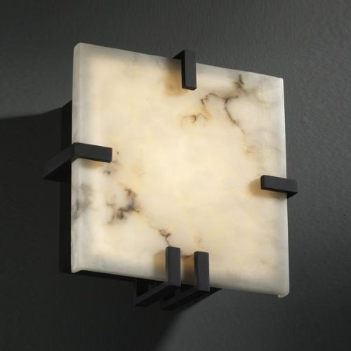 Justice Design FAL-5550-NCKL Clips Square Wall Sconce (ADA), Choose Finish: Brushed Nickel Finish, Choose Lamping Option: Standard Lamping (5550 Square Clips)