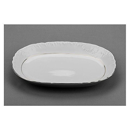 (Cmielow ODPL33-X, 13-Inch Oval Platinum Band Dish, Porcelain Fruit Serve Dish Plate, Serving Platter, Set of 6)
