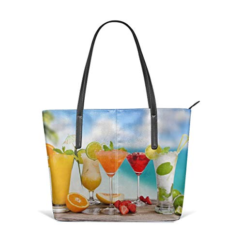 Women's Soft Leather Tote Shoulder Bag Fruit Cocktail Big Capacity Casual Portable Handbag Purses Work Travel Bag