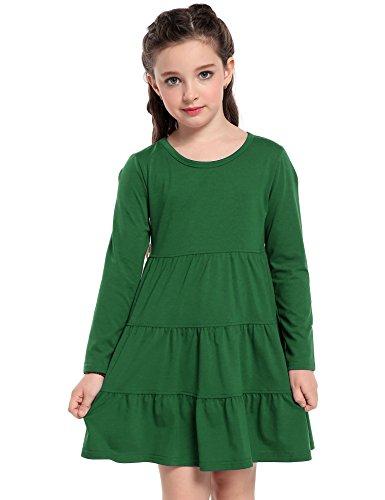 Arshiner Girls' Super Soft Cotton Long Sleeve Tiered Dress, Green, 100 (3-4 (Green Dress Girls)