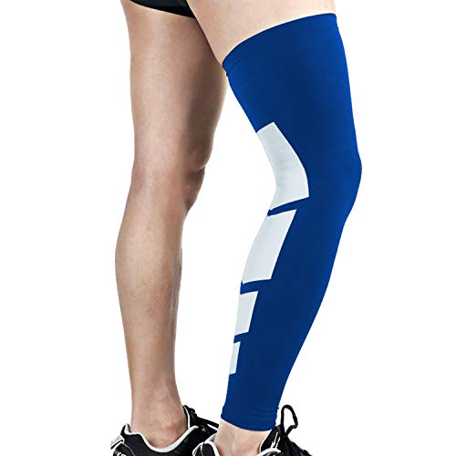 Anti Slip Full Length Compression Leg Sleeve Calf&Shin Splint Support Protect for Pain Relief &Recovery ,Single Blue,L
