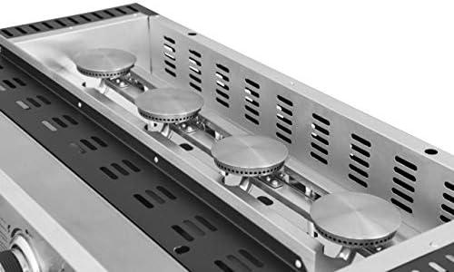 FAVEX - Plancha Bahia 4 feux Cooking Box - Surface cuisson 80 x 36 cm - 4 brûleurs rond Inox - Plaque acier émaillée - Piezo mécanique - Récupérateur de graisse - Jusqu'à 10/12 convives - 10 kW