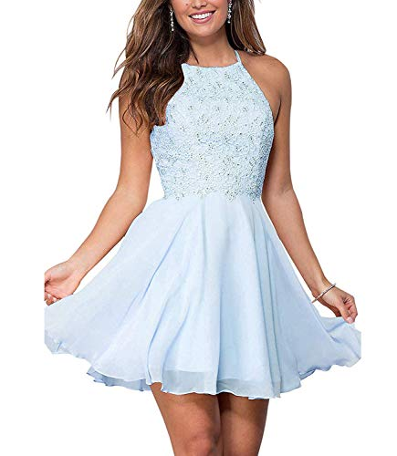 (Graceprom Women's Halter Lace Homecoming Dresses Backless Beaded Chiffon Formal Short Prom Cocktail Dress 4 Light Blue)