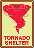 Accuform Signs 10'' X 7'' Red And Glow 10 mils Lumi-Glow Flex Evacuation And Shelter Sign ''TORNADO SHELTER (With Graphic) (GLOW)''