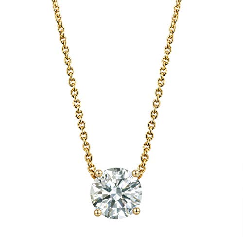 Kainier Choker Pendant Necklace 14K Gold Plated Chian Cubic Zirconia Diamond Crystal Pendant for Women (Gold) by Kainier (Image #4)