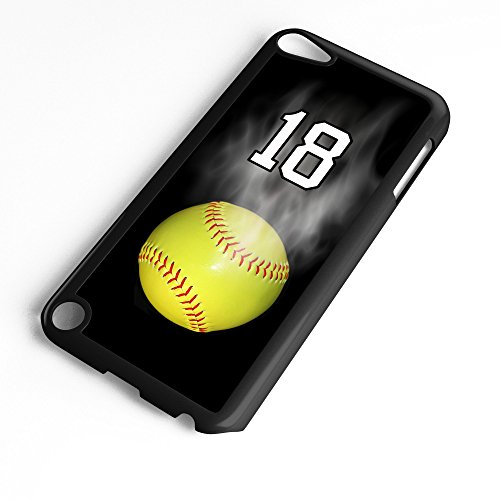 iPod Touch Case Fits 6th Generation or 5th Generation Softball #7100 Choose Any Player Jersey Number 18 in Black Plastic Customizable by TYD Designs