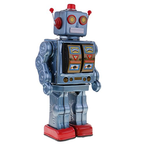 MagiDeal Retro Blue Tin Toy 12'' Electron Robot with Openable Doors on Chest Operated by 2 ''D'' Battery - Walking, Rotating Torso, Sounds from MagiDeal