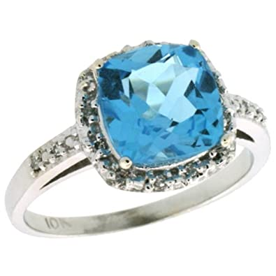 10k White Gold Ring, w/ 0.14 Carat Brilliant Cut Diamonds & 1.50 Carats Cushion Cut 7mm Blue Topaz Stone, 3/8 in. (10mm) wide