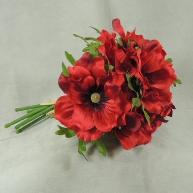 Package of 3 - Mini Imitation Silk Rich Red Windflower Bouquets, 21 Total Blooms (7 Blooms Per Bunch) for Weddings, Centerpieces and More