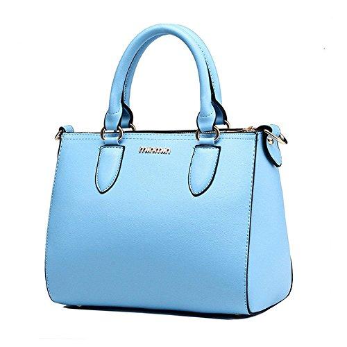 QCKJ-Lorenz-Borsa a tracolla da donna in ecopelle, motivo: lettere, colore: blu