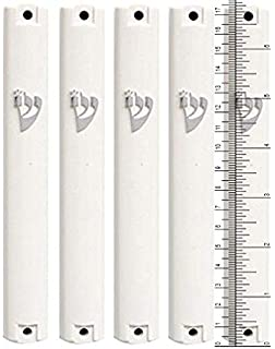 S/&S JUDAICA MEZUZAH CASE Holder White and Gold Plastic Rubber Plug 6.3//4 inch .for 15 cm Scroll lot of 5