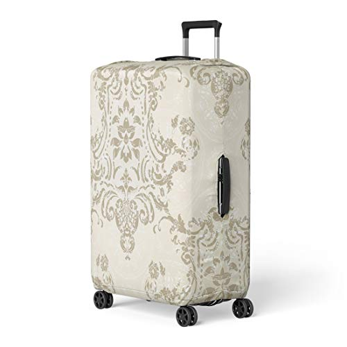 Pinbeam Luggage Cover Silver Victorian Damask Floral Pattern Rococo Antique Baroque Travel Suitcase Cover Protector Baggage Case Fits 26-28 inches