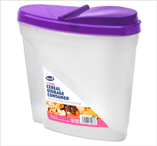 4 Litre Plastic Clear Cereal Storage Container - Great for all sorts of food