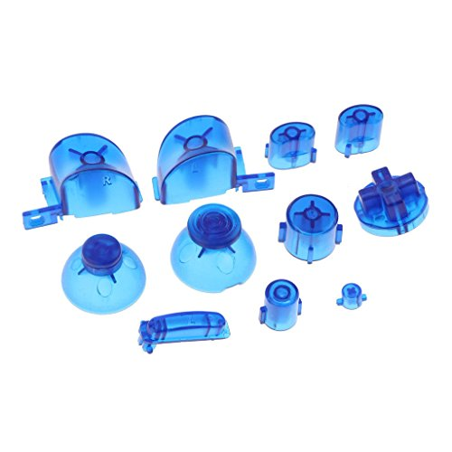 ABXYZ Buttons +Thumbstick D-pad Triggers Full Buttons Mod Set for NGC Gamecube Controller Clear Blue -