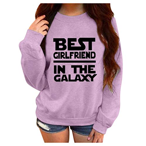 Aniywn Plus Size Pullover for Women,Ladies Casual Loose Sports Hooded Sweatshirt Tops Letters Print(Purple,XL)