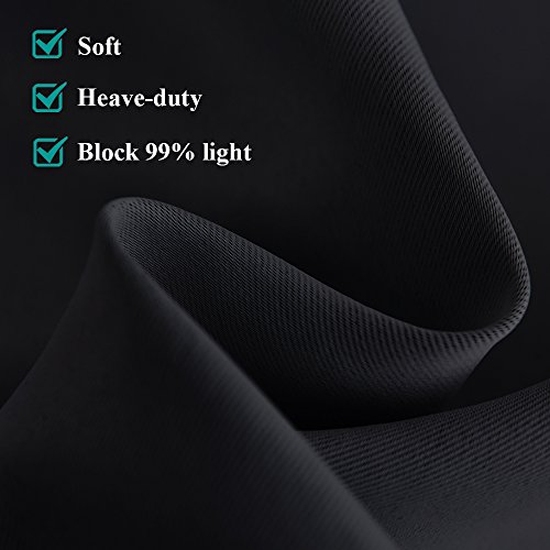 NICETOWN Blackout Draperies Window Curtain Panels Autumn/Winter Thermal Insulated Solid Grommet Blackout Curtains/Drapes for Livingroom (Set of 2,42 Inch by 54 Inch,Black)