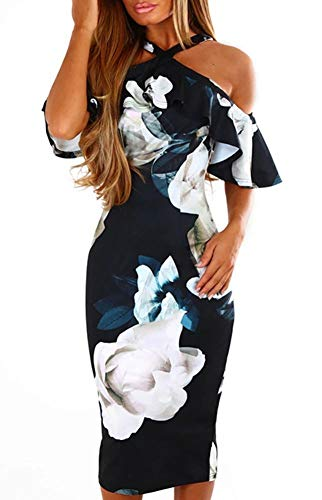 Women Ruffle Floral Halter Open Shoulder Bodycon Clubwear Evening Midi Dress (XXL, Navy)