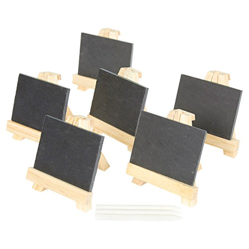 6 Pack - Mini Chalkboard Signs with Wooden Easel Stands - Placecards for Weddings, Parties, Table Numbers, Events, Decoration - Includes 3 Chalk ()