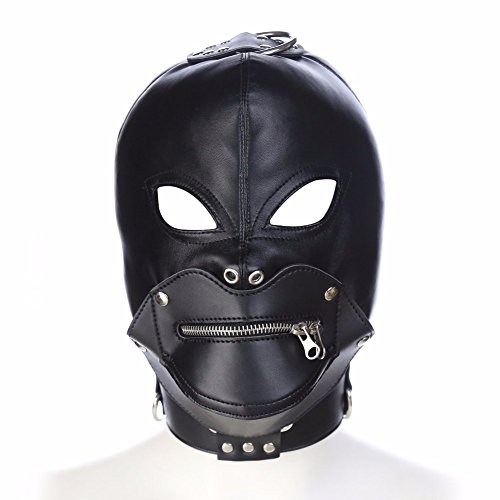 FaLaiDi Leather Eyes with Zipper Helmet Adult Creative Windproof Helmet Cosplay Hood Halloween Party Mask with Plug