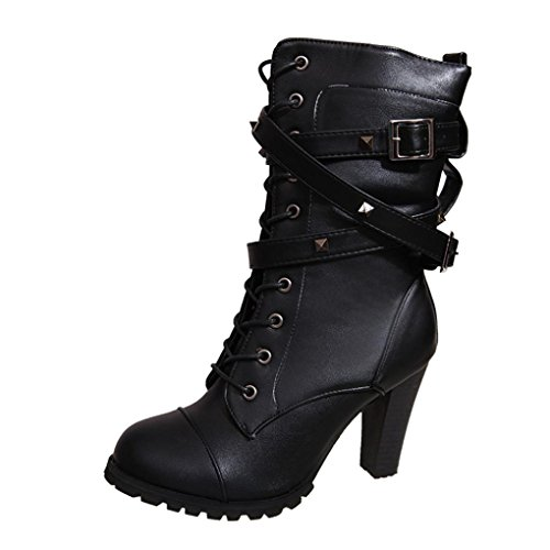 High Belt Ankle Up Boots Heels Buckle Ladies Lace Black Leather Momola Faux Womens Zipper pPqA8A