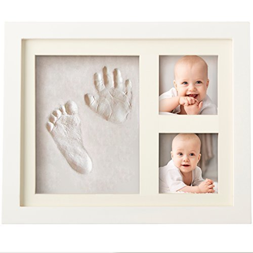 Bubzi Co Baby Handprint Kit & Footprint Photo Frame for Newborn Girls and Boys, Baby Photo Album for Shower Registry, Personalized Baby Gifts, Keepsake Box Decorations for Room Wall Nursery Decor ()
