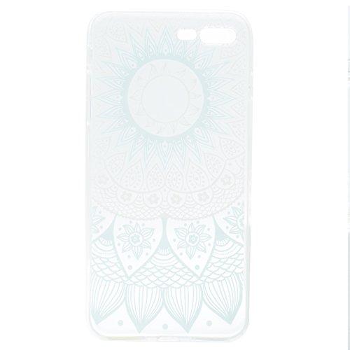 iPhone 8 Plus Hülle , Leiai Modisch Blaue Blume TPU Transparent Clear Weich Tasche Schutzhülle Silikon Handyhülle Stoßdämpfende Schale Fall Case Shell für Apple iPhone 8 Plus