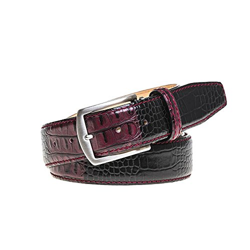 Wine Vintage Twice Italian Mock Croc Leather Belt by Roger Ximenez: Bespoke Maker of Fine Leather Goods