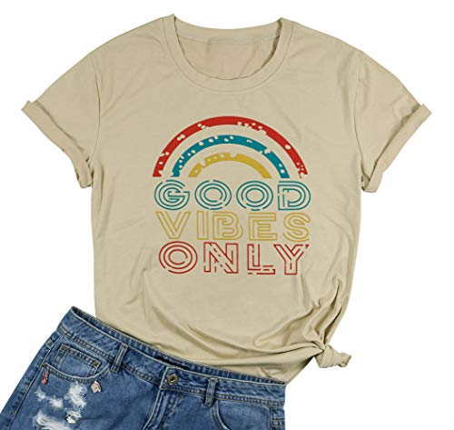 - Sunshine Good Times T-Shirt for Women Summer Letter Print Beach Vacation Graphic Tees Tops (Khaki, L)