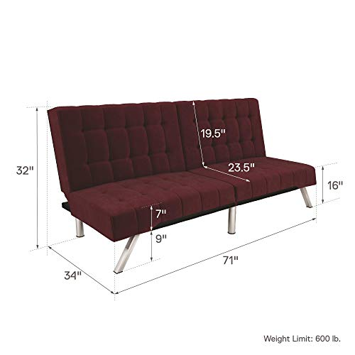 DHP Emily Futon Sofa Bed, Modern Convertible Couch with Chrome Legs Quickly Converts into a Bed, Rich Burgundy Velvet
