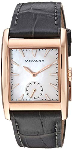 Movado Women's Heritage Stainless Steel Swiss-Quartz Watch with Leather-Crocodile Strap, Grey, 27.4 (Model: ()