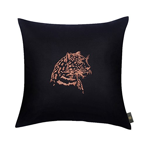 CasStar 100% Cotton 1818 Inches Square Cushion Case Embroidered Silhouette Jaguar Throw Pillow Cover for Decoration, Black