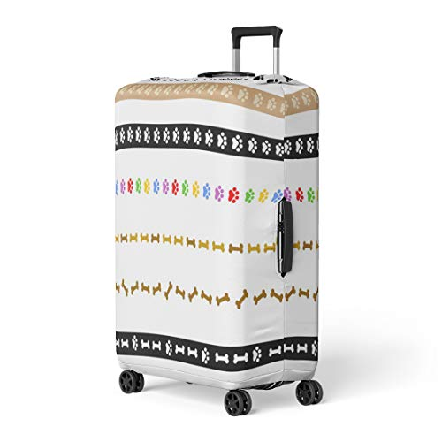 Pinbeam Luggage Cover Border Colorful Dog Paw and Bone Divider Collection Travel Suitcase Cover Protector Baggage Case Fits 22-24 inches