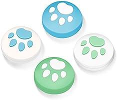 【Switch/Switch Lite 対応】アナログスティックカバー 保護カバー (4個セット) 猫 肉球 アシストキャップ 親指グリップキャップ ジョイスティックカバー(イエロー/ブルー)…