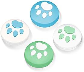 【Switch/Switch Lite 対応】アナログスティックカバー 保護カバー (4個セット) 貓 肉球 アシストキャップ 親指グリップキャップ ジョイスティックカバー(イエロー/ブルー)…