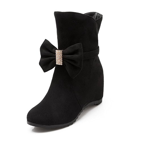 AgooLar Women's Pull-on Round Closed Toe Kitten-Heels Imitated Suede Low-top Boots Black