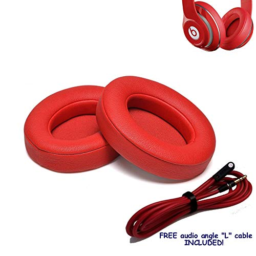 2 pcs (L + R Sides) Replacement Ear Foams Pads Cushions for Beats Studio 2.0 B0500,B0501 & Beats Studio 3.0. Wired or Wireless. NOT Compatible to Beats Solo or Other Models. (RED)