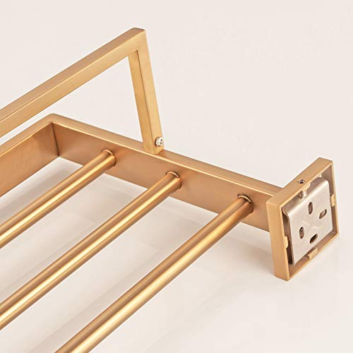 WINCASE Bathroom Bath Towel Shelf, Towel Holder, Brushed Gold Finished 23.6 Inch Solid Stainless Steel Construction, Vintage Style Wall Mounted by WINCASE (Image #6)