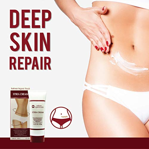 STRIA Natural Stretch Marks, Scar & Dark Spot Remover | Stretch Mark Cream for Skin Hydration, Exfoliation, Tightening & Collagen Boost | Pregnancy Belly Care for Prenatal-Postnatal & Pregnant | 3 pcs by GreenTouch (Image #3)