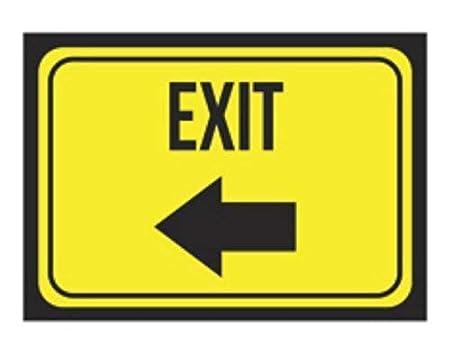 Fluse Exit Left Arrow Print Bright Yellow Black Business ...