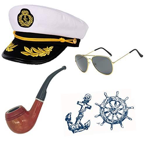Sailor Ship Yacht Boat Captain Hat Costume Accessories - Sailor Cap,Wooden Pipe,Aviator Sunglasses -