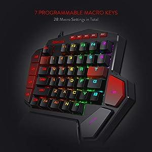 Redragon K585 DITI One-Handed RGB Mechanical Gaming Keyboard, Blue Switches, Type-C Professional Gaming Keypad with 7 Onboard Macro Keys, Detachable Wrist Rest, 42 Keys Doom Eternal