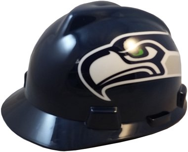 NFL Team Safety Helmets with One-Touch Adjustable Suspension and Hard Hat Tote - Seattle (Hawk Lightweight Hat)