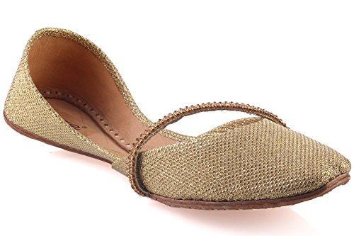Unze Joce' Leder Schuhe Mädchen Kinderzimmer Diamante Detaillierte Handmade Khussa Wohnung Pump - CS-505