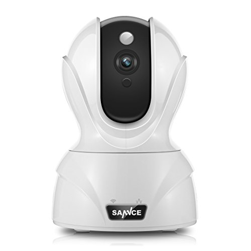SANNCE IP Camera 1080P Home Monitoring Security Cameras with QR Code Scan,Two-ways Audio Talk,Build-in Mic and Speaker (White)