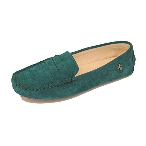 Minishion Meisjes Womens Casual Comfortabele Suède Leren Mocassins Loafers Bootschoenen Flats Pauw Groen