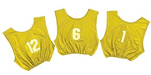 Champion Sports Adult Practice Numbered Scrimmage Vest, Yellow (Champion Sports Pinnies Mesh Adult)