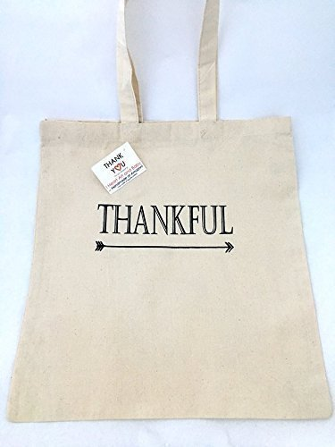 Thankful Tote Bag, Thank You Bag, Appreciation Gifts, Best Gift for Teacher, Everyday Tote, Cotton Canvas 15 x 16 inch, Natural Color -