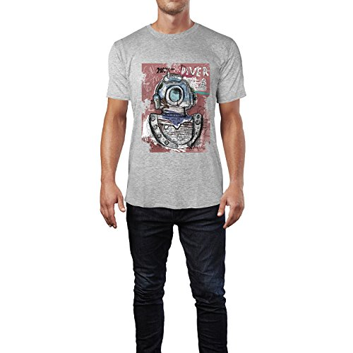 SINUS ART® Bunter Kunstdruck Taucher Herren T-Shirts in hellgrau Fun Shirt mit tollen Aufdruck