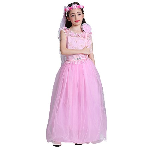 Price comparison product image ADHS Girl Graduation School Guest Banquet Feast regale Bee Fancy Dresses(Pink,12-13Y)
