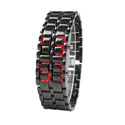 Men's Lady's Unisex Style Lava Iron Stainless steel Samurai Metal Red LED Faceless Bracelet Luxury Wrist Watch (Black)